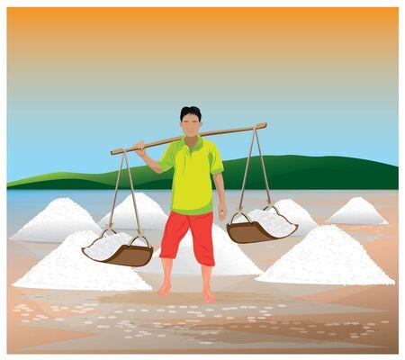 moutain: agriculturist with salt vector design