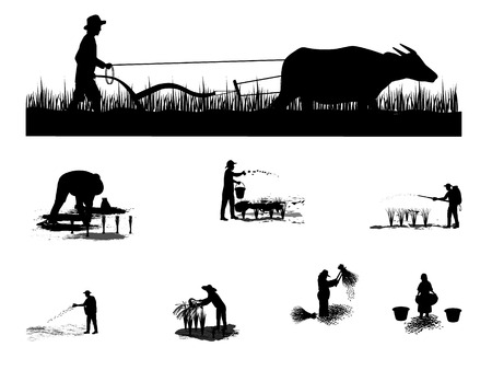Silhouette of a farmer plowing.