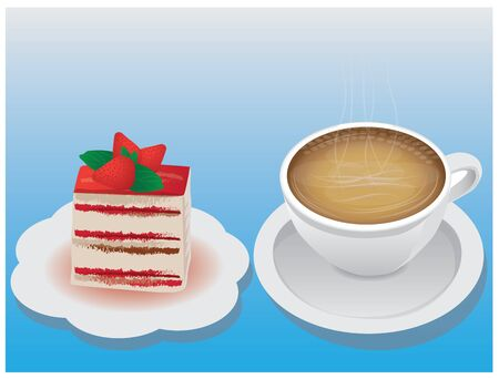 strawberry cake: A cup of coffee and strawberry cake.