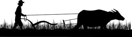 Silhouette of farmer and buffalo.