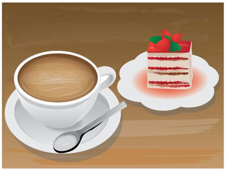 strawberry cake: Cup of coffee and strawberry cake.