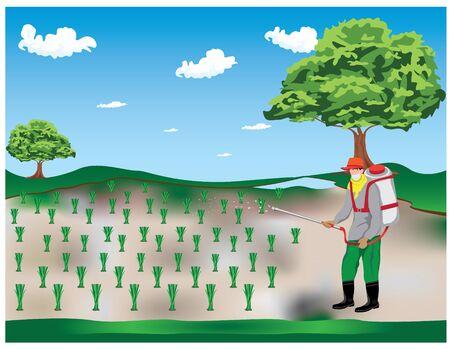 agriculturist sprays rice plant vector design
