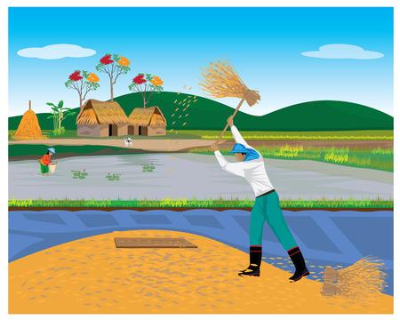 thresh: Lifestyle of farmer vector design.