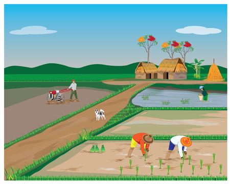 Estilo de vida de diseño de vector de agricultor. Ilustración de vector