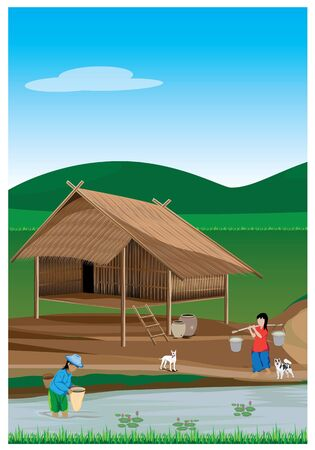 Lifestyle of agriculturist vector design.