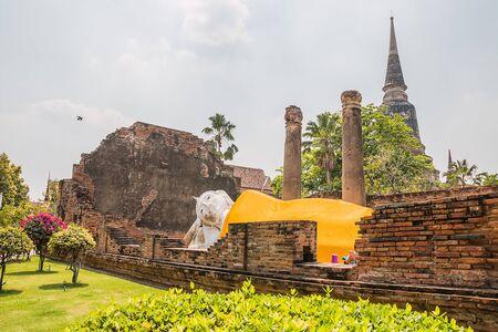 ancient reclining Buddha at Ayutthaya thailand