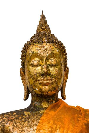 face of anceint buddha statue with gold leaf