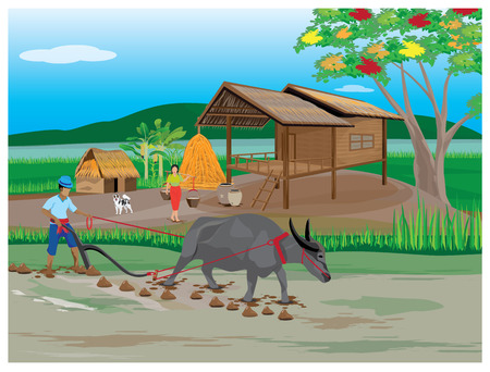 plowing: lifestyle of farmer vector design