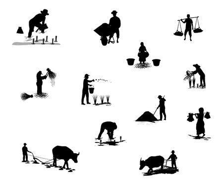 silhouettes farmer shape vector design Ilustração