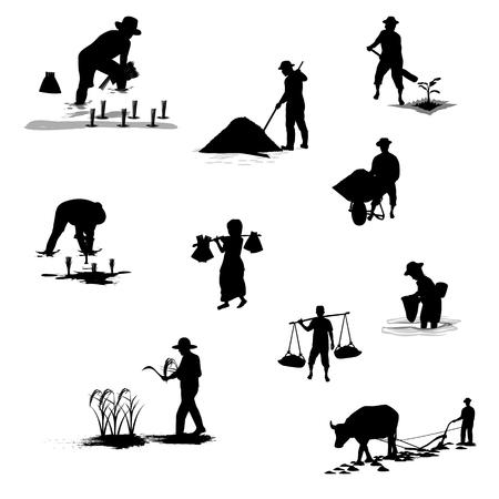silhouettes farmer shape vector design Illustration
