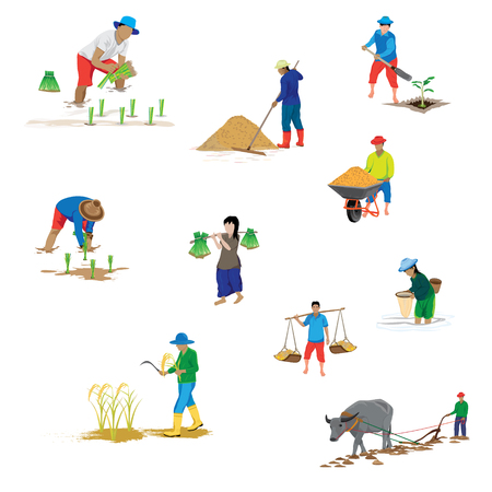 lifestyle of farmer shape vector design Illustration