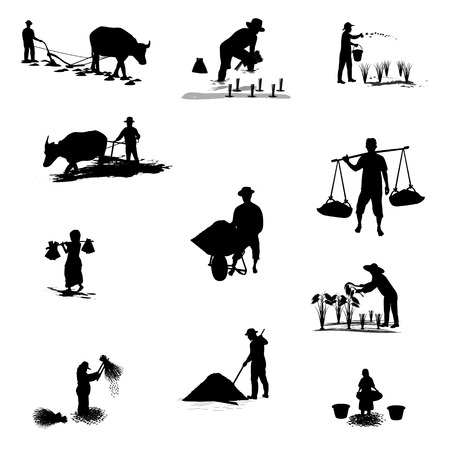 plow: silhouettes farmer shape vector design Illustration