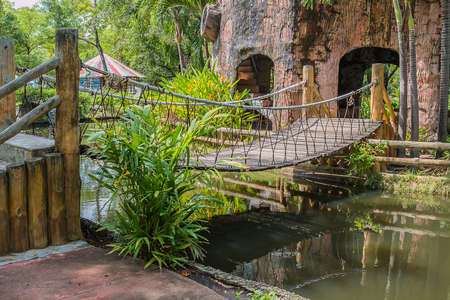 cavern: wood bridge Stock Photo