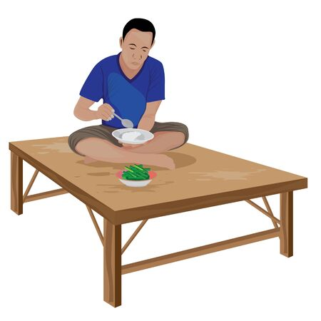 One man eating rice vector design