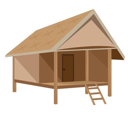Straw hut vector design on white background.