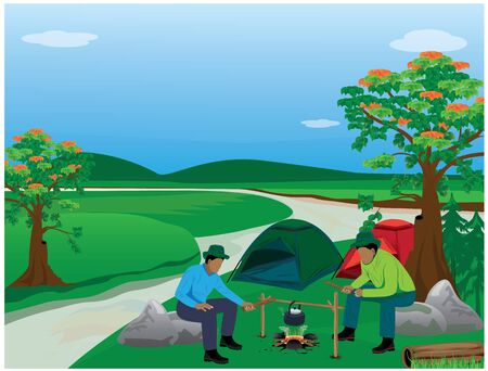 A two man cartoon camp in forest vector design Illustration