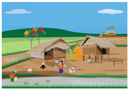 Lifestyle in the countryside vector design Illustration