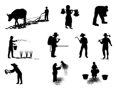 silhouet boeren vorm vector ontwerp Stock Illustratie
