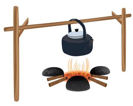 kettle on stove vector design Çizim