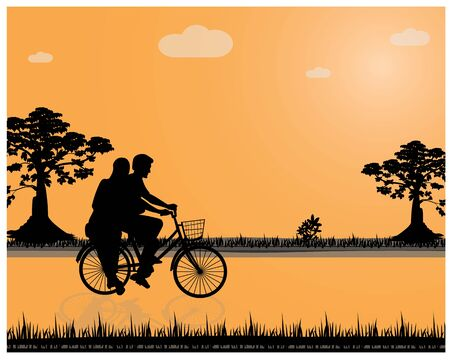 silhouette man and lady on bicycle vector design Illustration