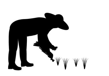 silhouette farmer shape vector design