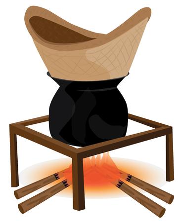 steamed steak on stove vector design