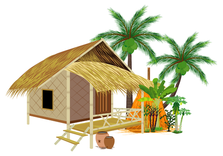 isolate grass hut and ingredient around hut vector design