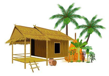 grass hut and coconut tree vector design
