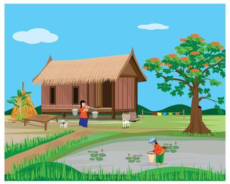 estilo de vida del agricultor en el diseño de vectores de campo Ilustración de vector