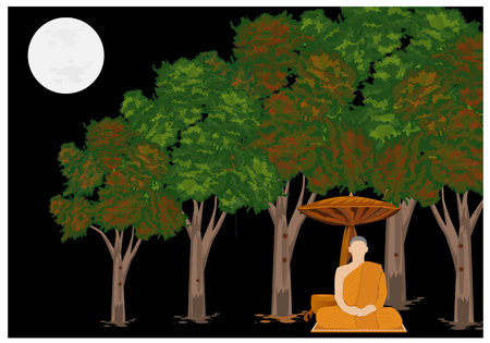 die Mönchsmeditation im Waldvektordesign