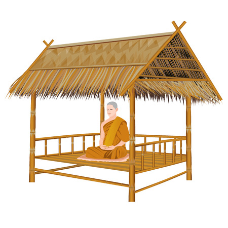 the monk meditation on bamboo hut vector design Çizim