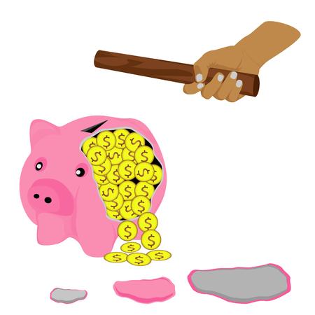 Used wood smash piggy bank vector design Illustration
