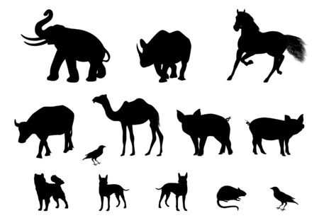 silhouette animal shape vector design Illustration