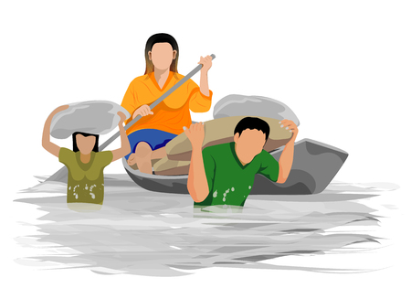one family in flood vector design