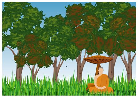 the monk meditation in forest vector design Çizim
