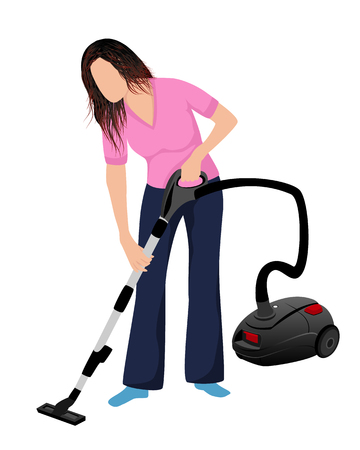 lovely lady use vacuum cleaner vector design Illustration