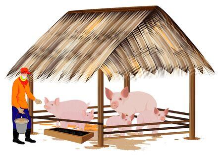 agriculturist give food for pig vector design