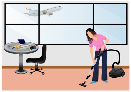 lovely lady use vacuum cleaner in room vector design