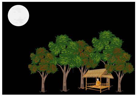 Monk meditating on hut in forest design