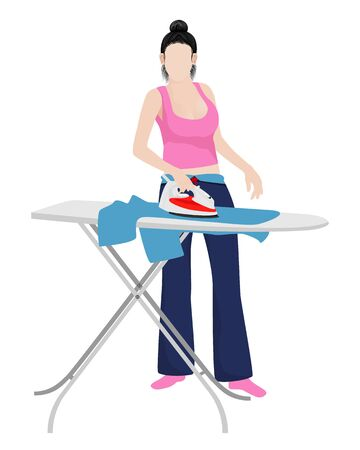 lovely lady pressing cloth vector design