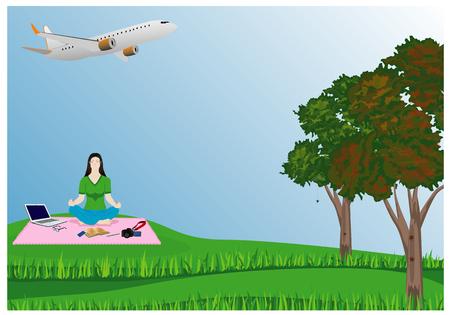 lovely lady meditation in park before work vector design