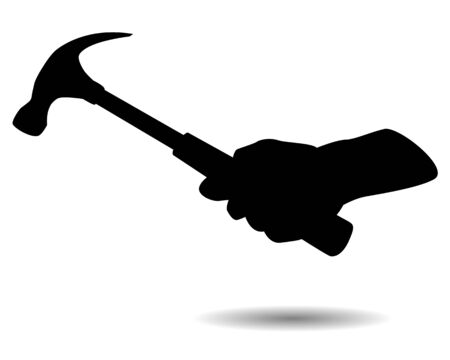 silhouette hand with hammer vector design
