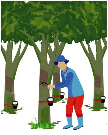 Agriculturist cut rubber tree vector design Çizim