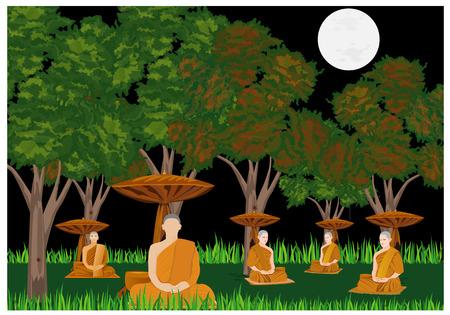 Monks meditating in forest design