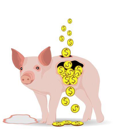 broken piggy bank vector design Illustration
