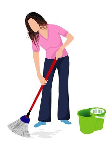 lovely lady mop on floor vector design