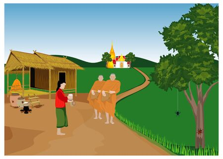 Lifestyle of villager at countryside vector design Illustration