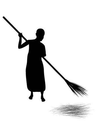 silhouette novice shape sweep garbage vector design