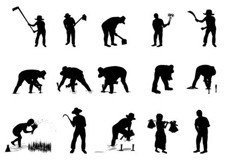 Silhouette farmer shape vector design. Illustration