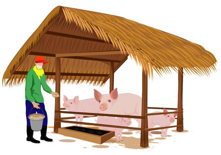 Agriculturist give food for pigs vector design